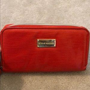 Orange Steve Madden Zip Wallet